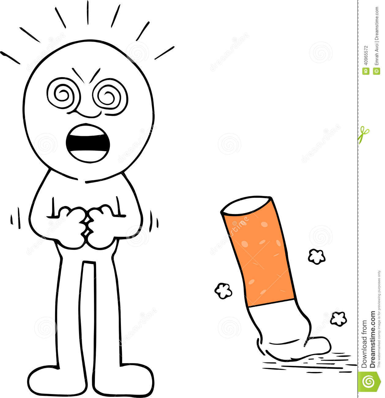 Cigarette Caricature angry man with cigarette stock illustration. illustration of