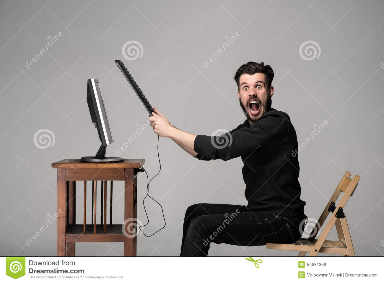 Angry Man Is Destroying A Keyboard Stock Photo - Image ...