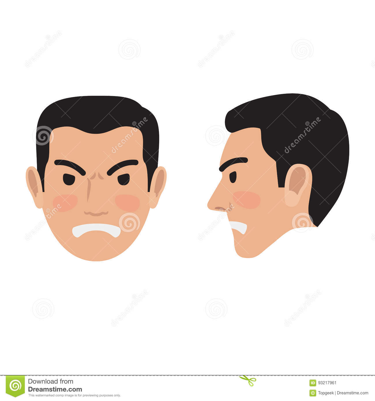 Angry Man Face From Two Sides Flat Vector Icon Stock ...
