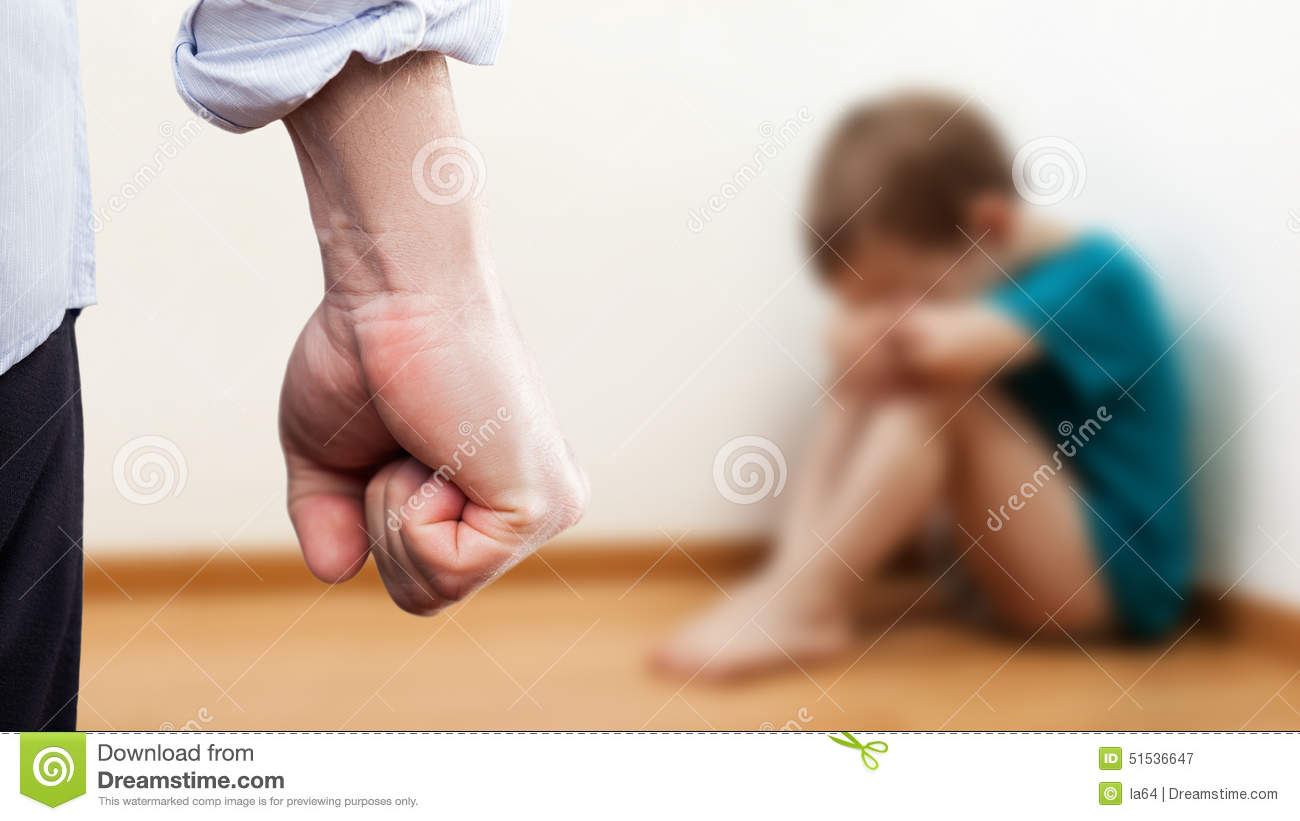 Angry man raised fist over wall corner sitting child boy