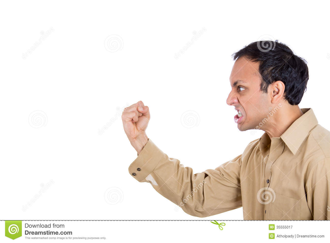 Angry Man Screaming, With Fist In Air Stock Image - Image ...