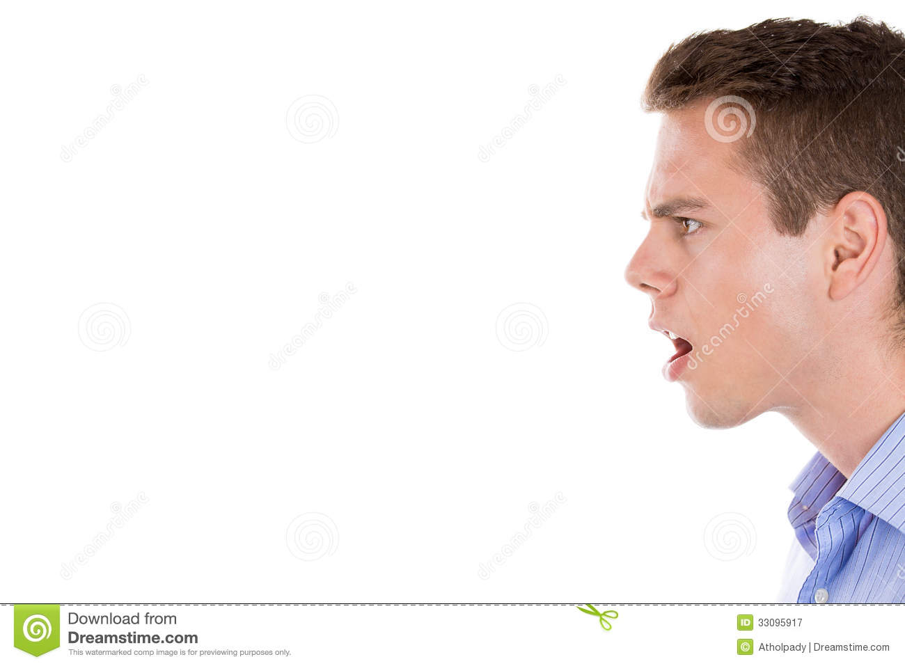 Angry Man Screaming, Side View Royalty Free Stock ...