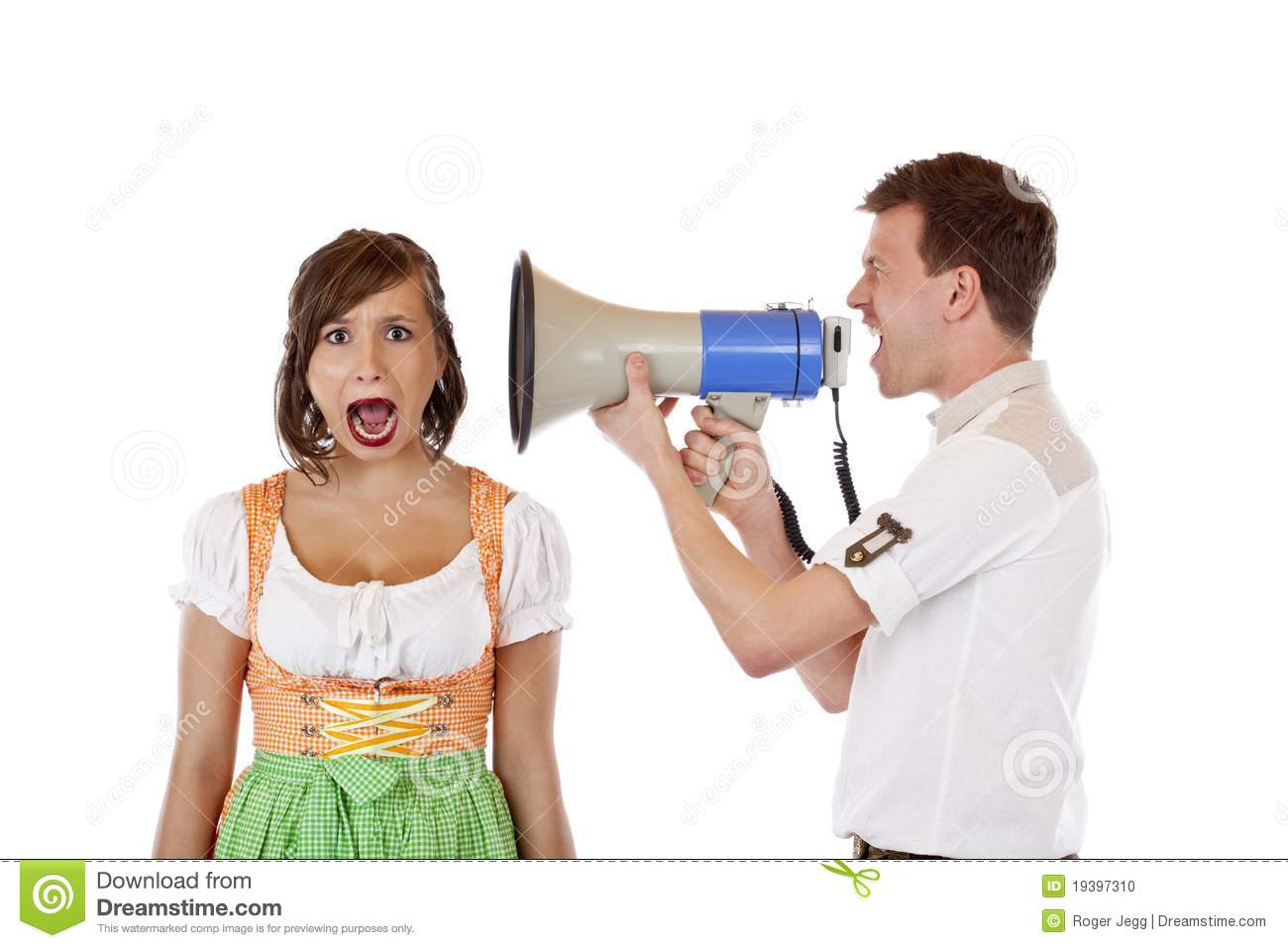 Angry Man Screams Into Ear Of Woman With Megaphone Stock ...