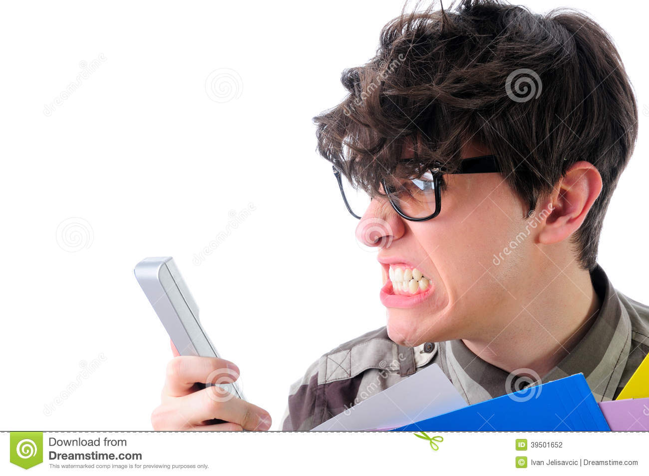 Angry man shouting over the phone, isolated on white