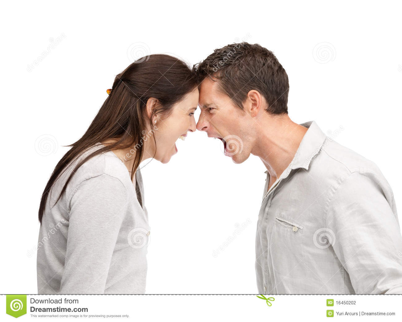 Angry Man And Woman Yelling At Each Other Stock Photo ...