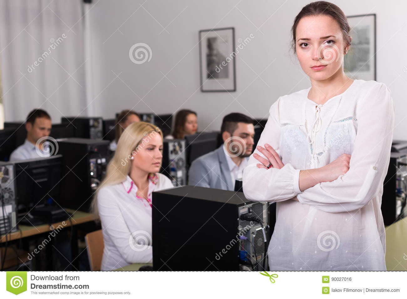 Angry manager displeased of employees