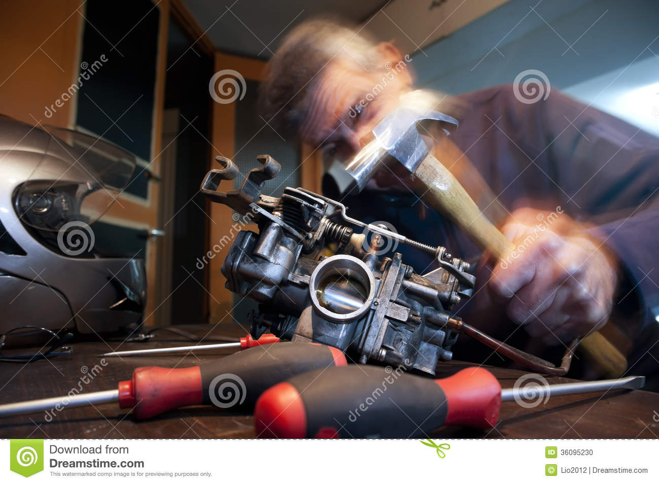 Angry Mechanic With Hammer Stock Photo Image 36095230