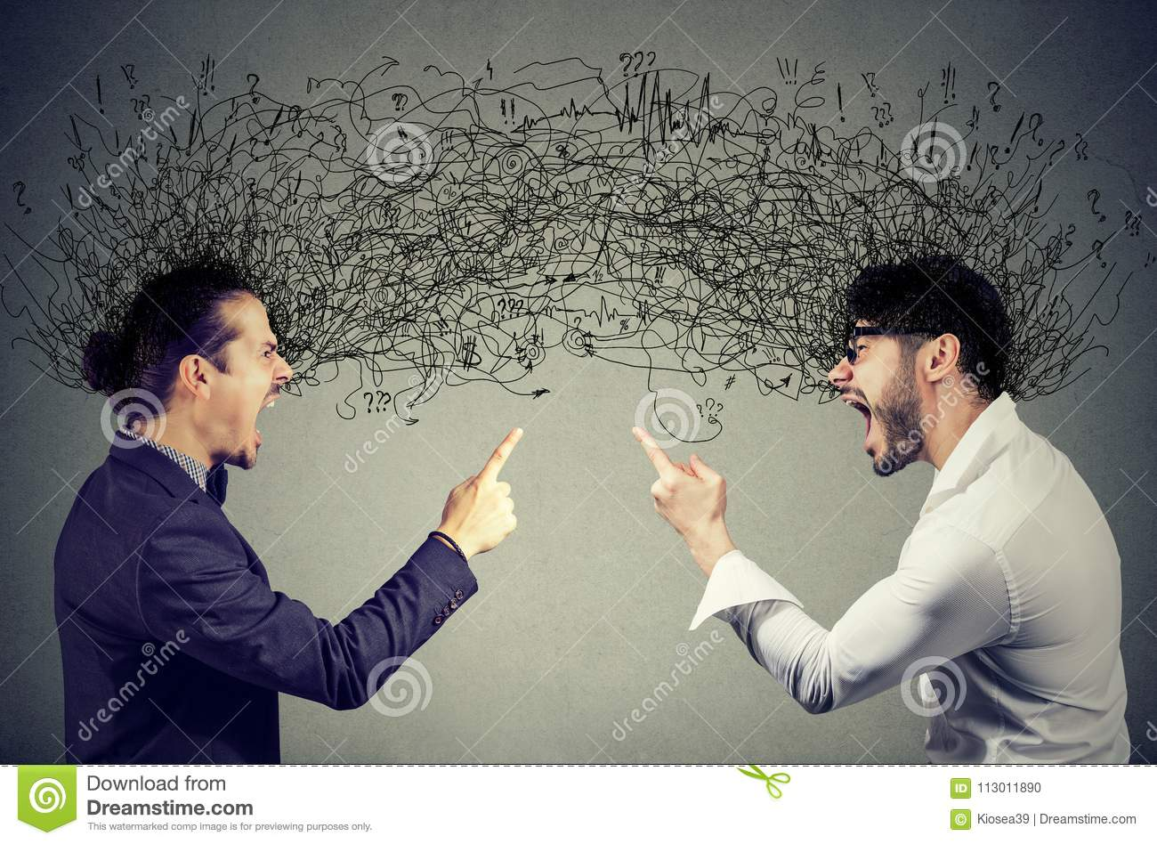 Angry men screaming at each other exchanging with negative thoughts