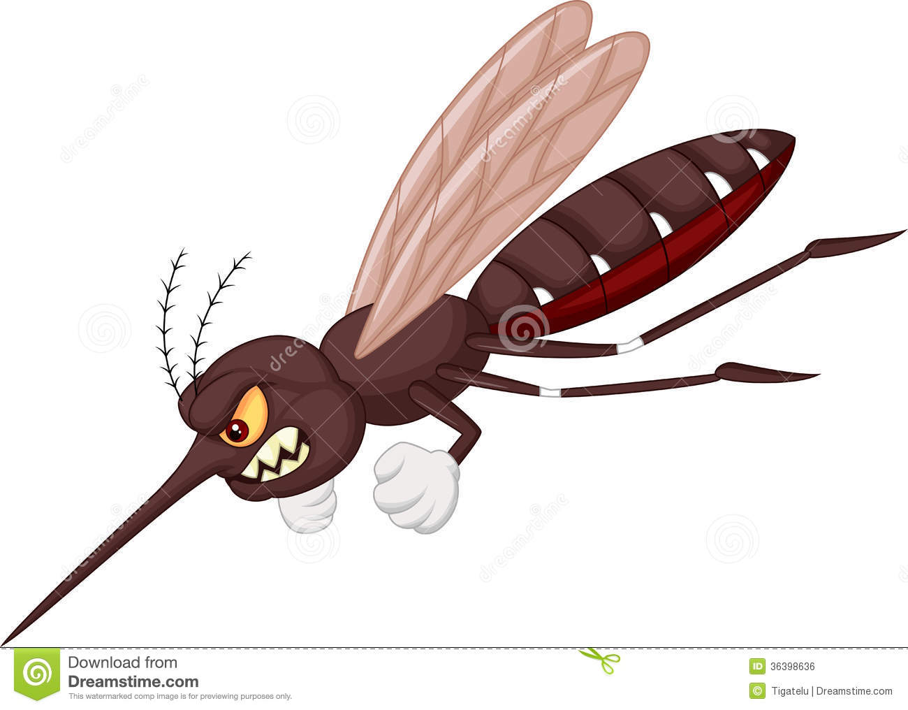 Angry mosquito cartoon stock vector illustration of