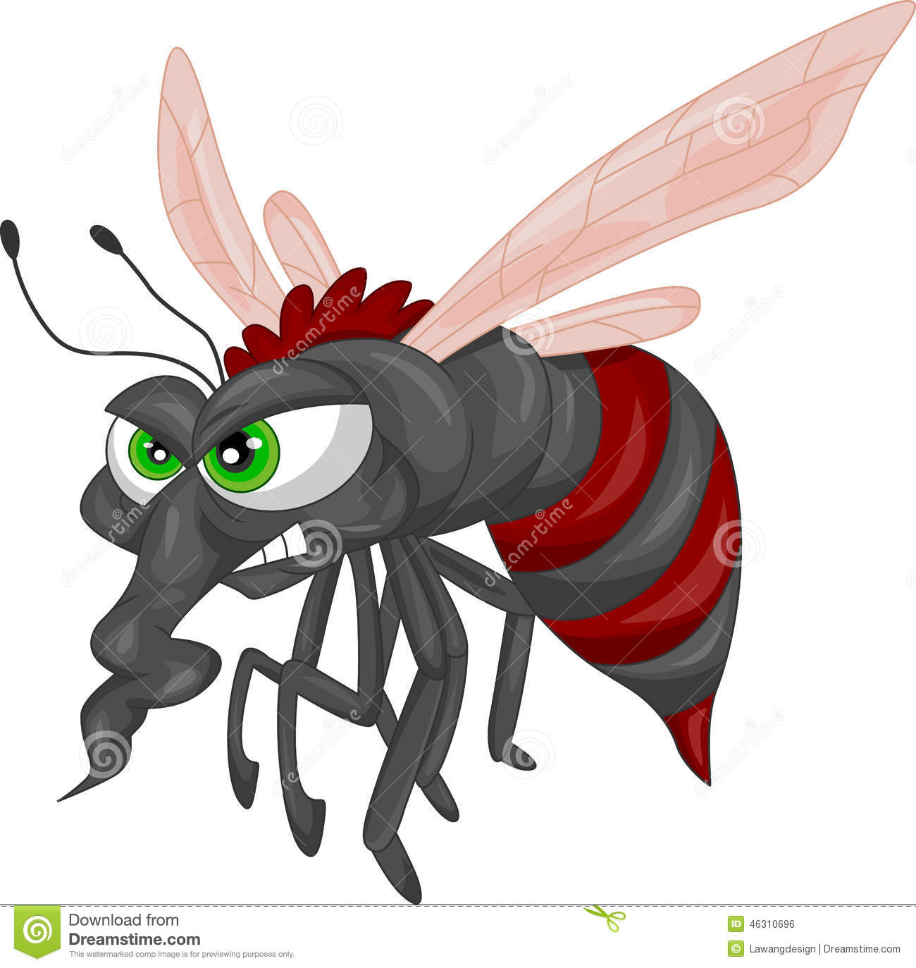 Angry mosquito cartoon stock vector image