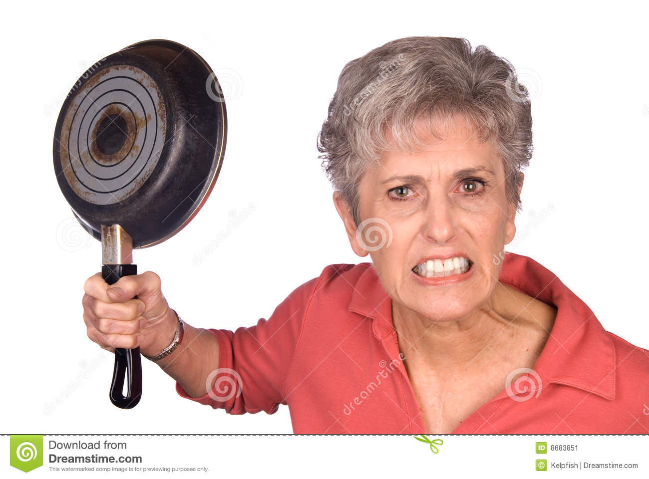 An angry mother threatens to swing her frying pan is a display of ...