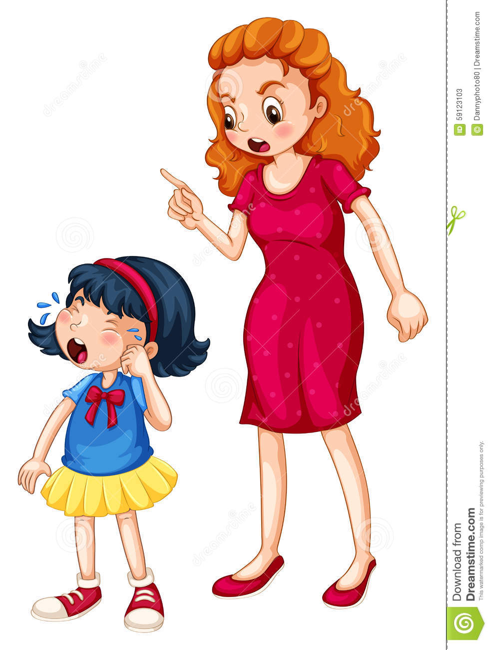Angry mother shouting at crying daughter stock vector image