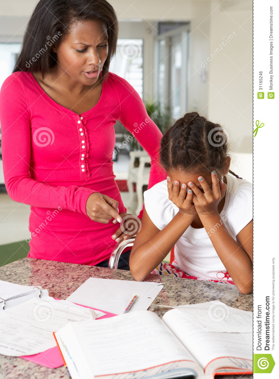 Angry Mother Telling Off Daughter About Homework Royalty ...