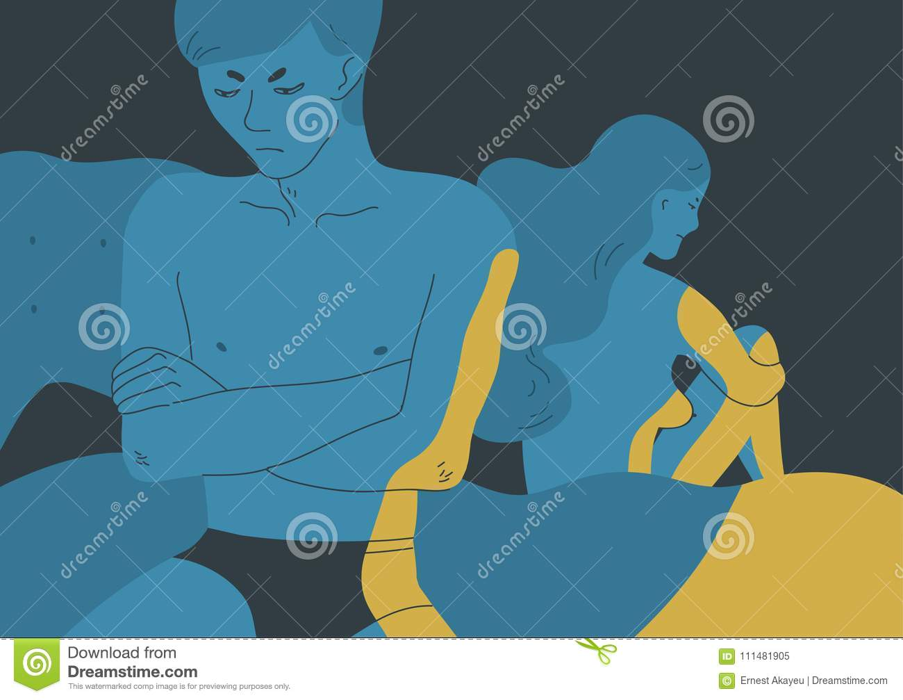 Angry Naked Man And Woman Sitting Turned Away One Another On