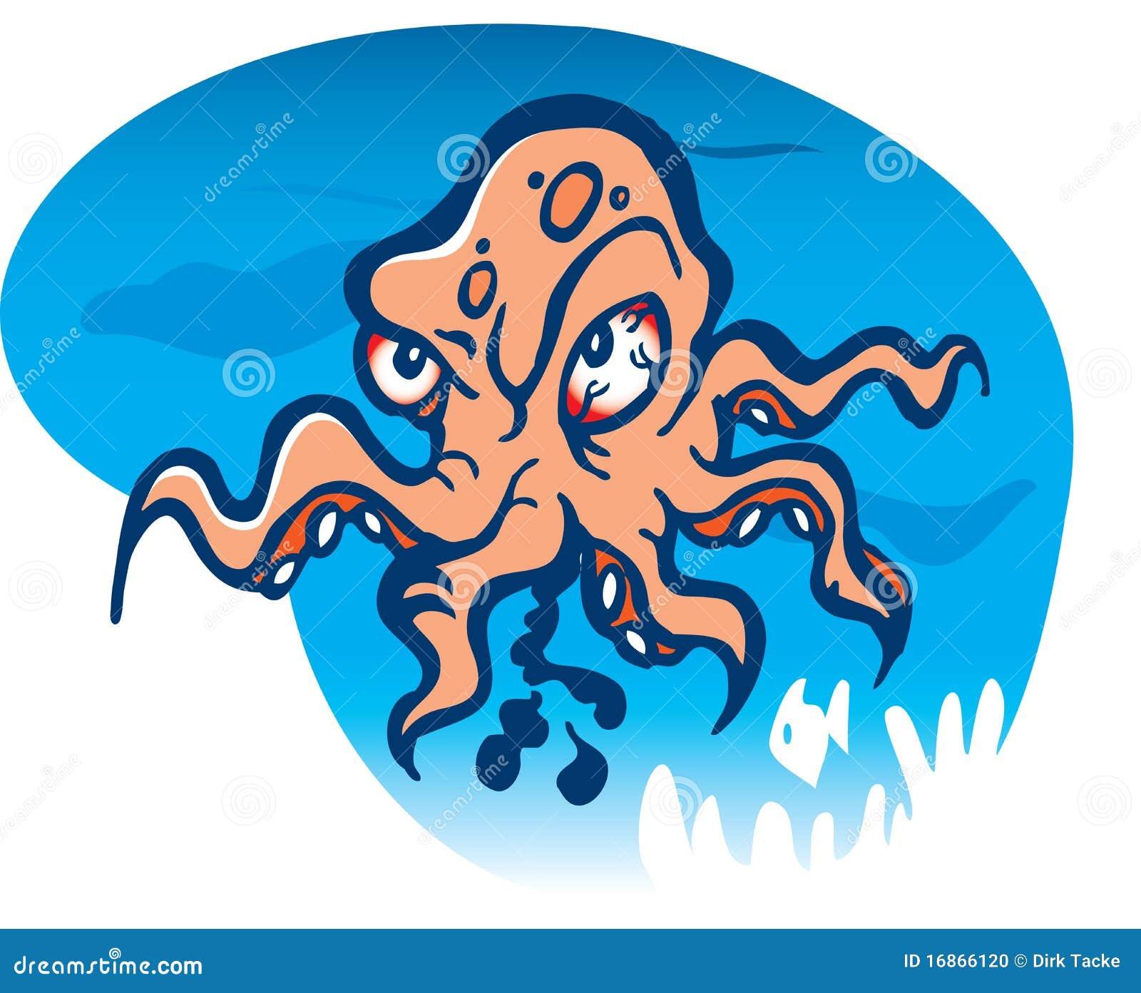 angry octopus cartoon stock vector illustration of clip art octopus free clipart octapus