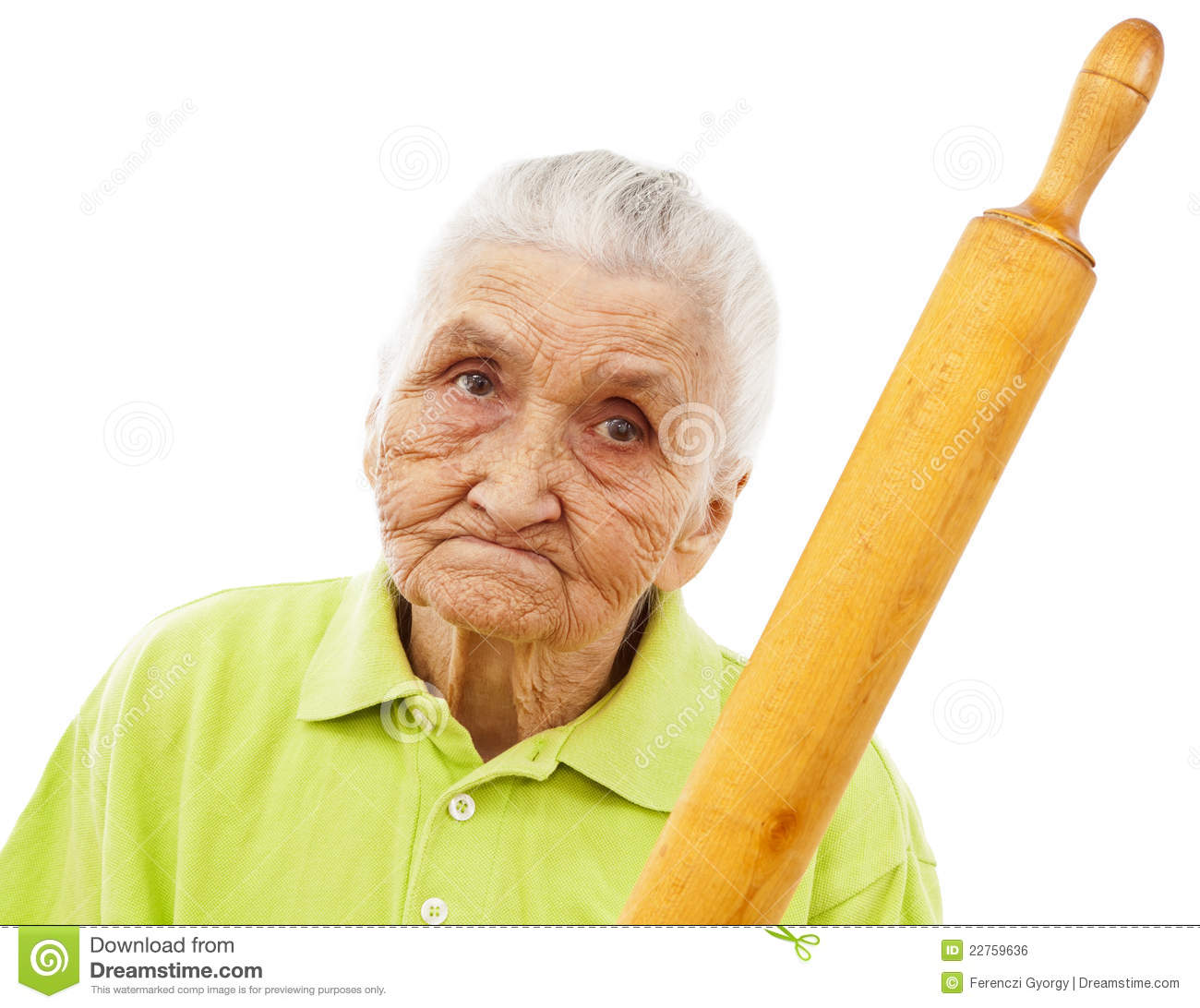 Royalty Free Stock Image: Angry old woman threatening with a rolling ...