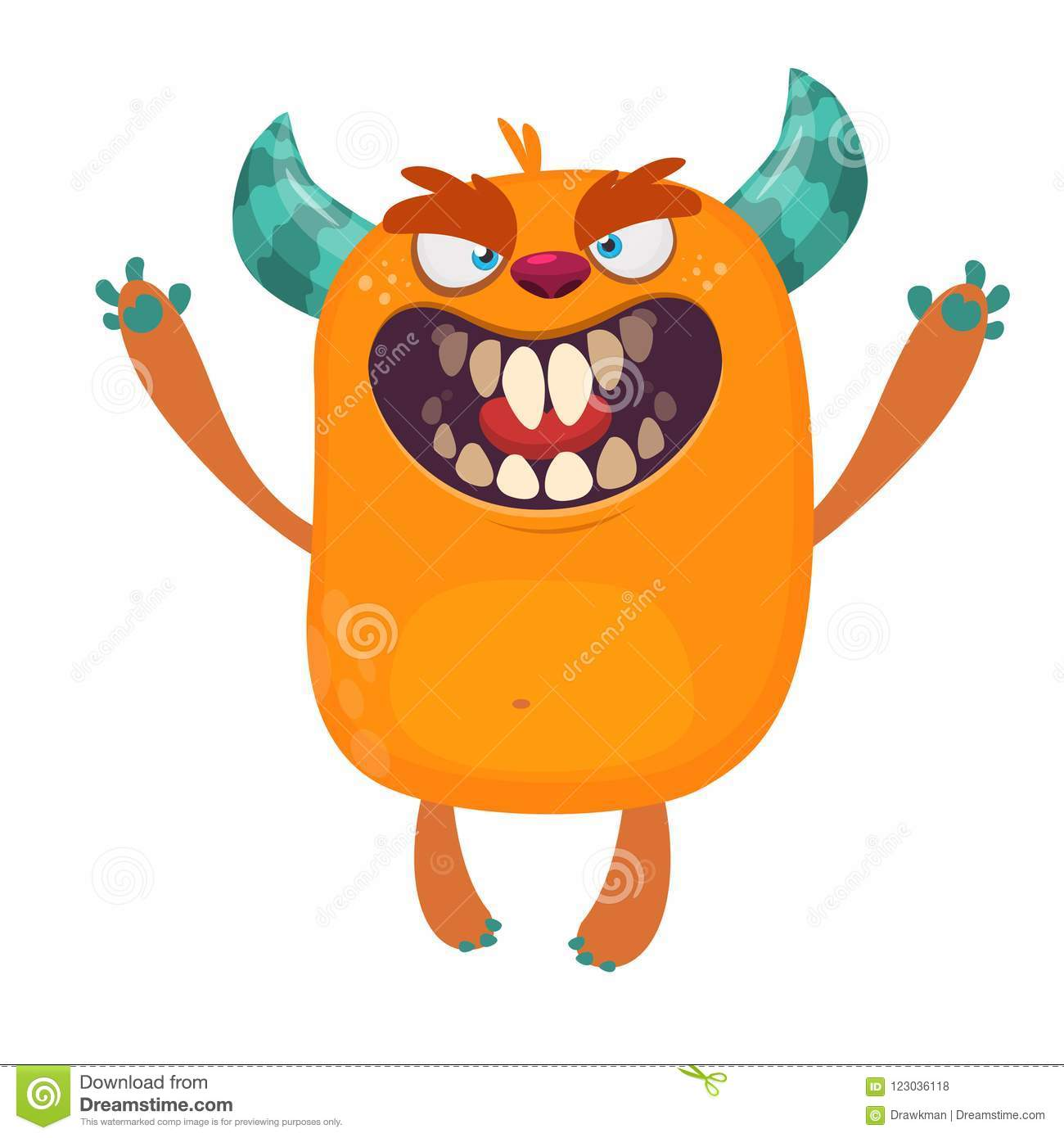 Angry Orange Cartoon Monster With Horns  Big Collection Of