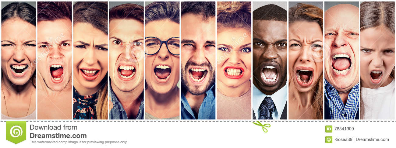 Angry people screaming. Group of men women frustrated shouting