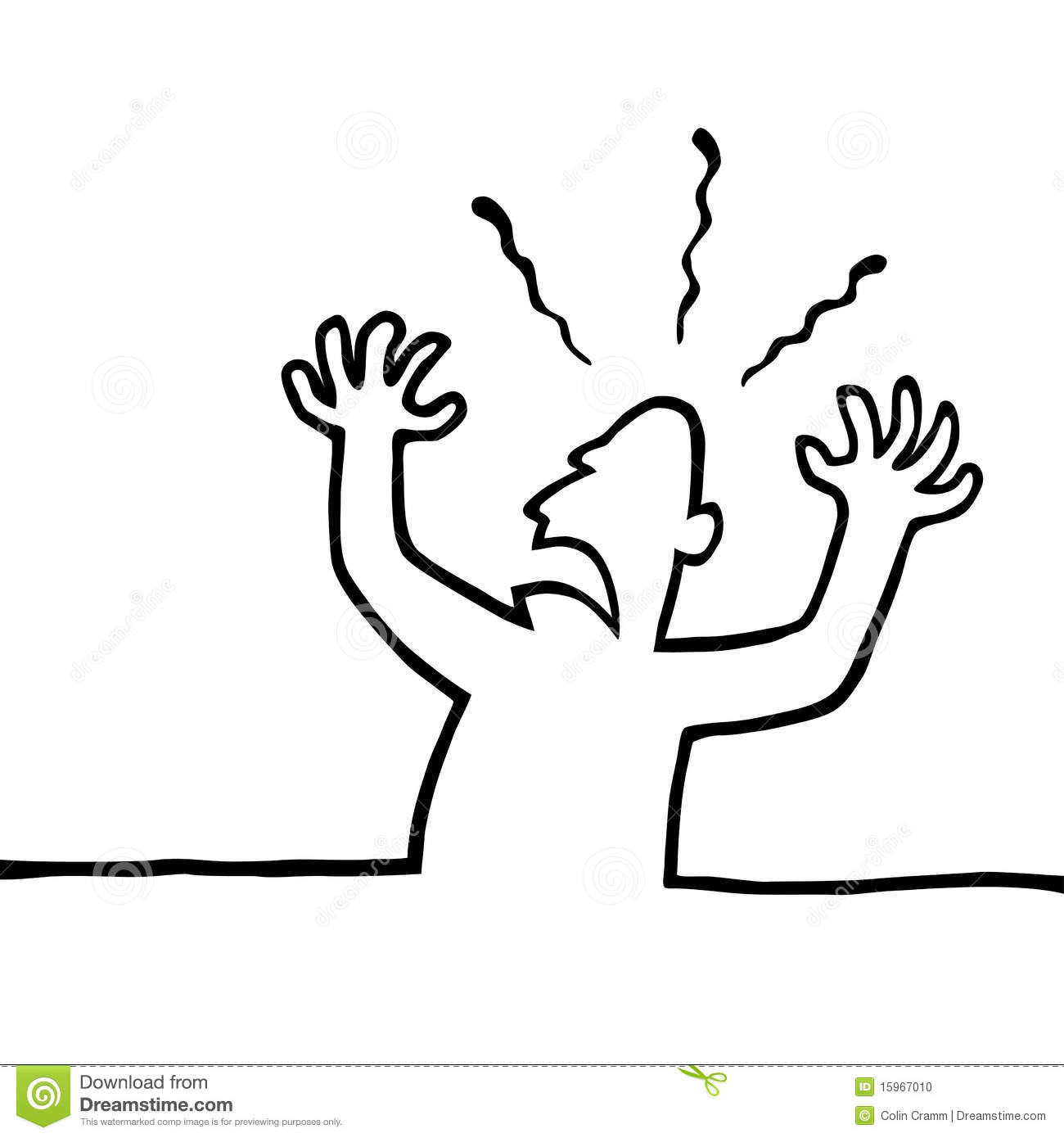 Line Art Person : Angry person with his hands in the air stock vector