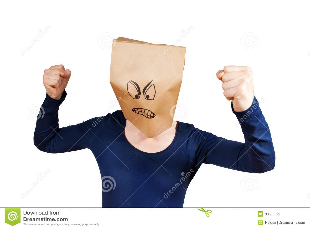 person with an angry paper bag smiley on its head, isolated.