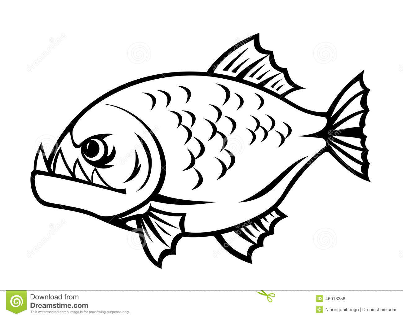 Angry Piranha Stock Vector Illustration Of Fish Piranha 46018356