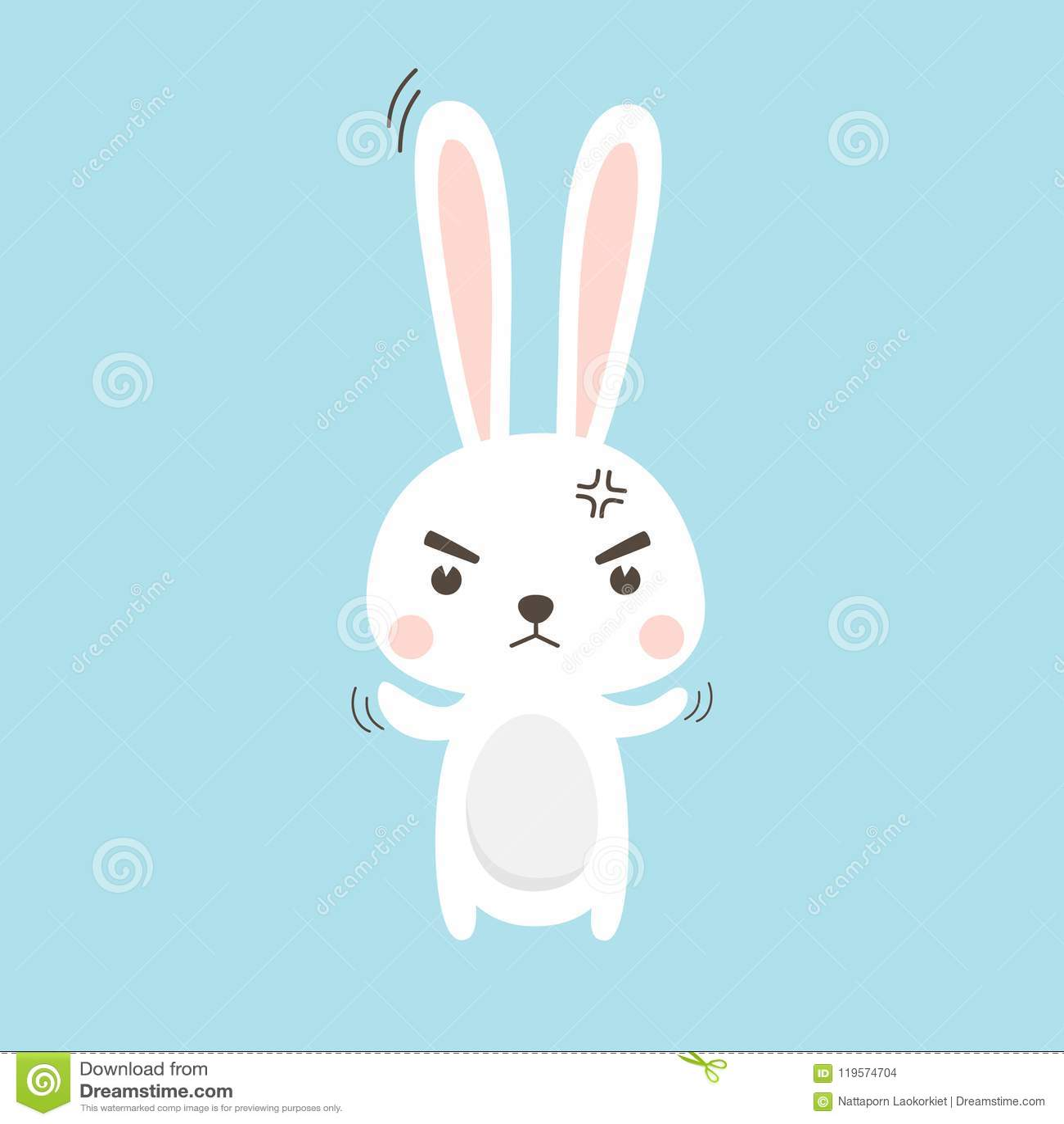 Angry Rabbit. Easter Bunny Vector illustration cartoon character.