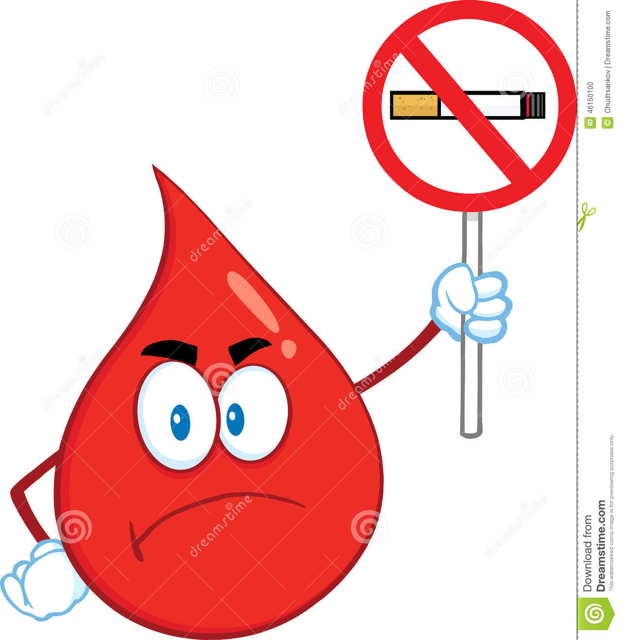 Angry Red Blood Drop Cartoon Mascot Character Holding Up A No Smoking ...
