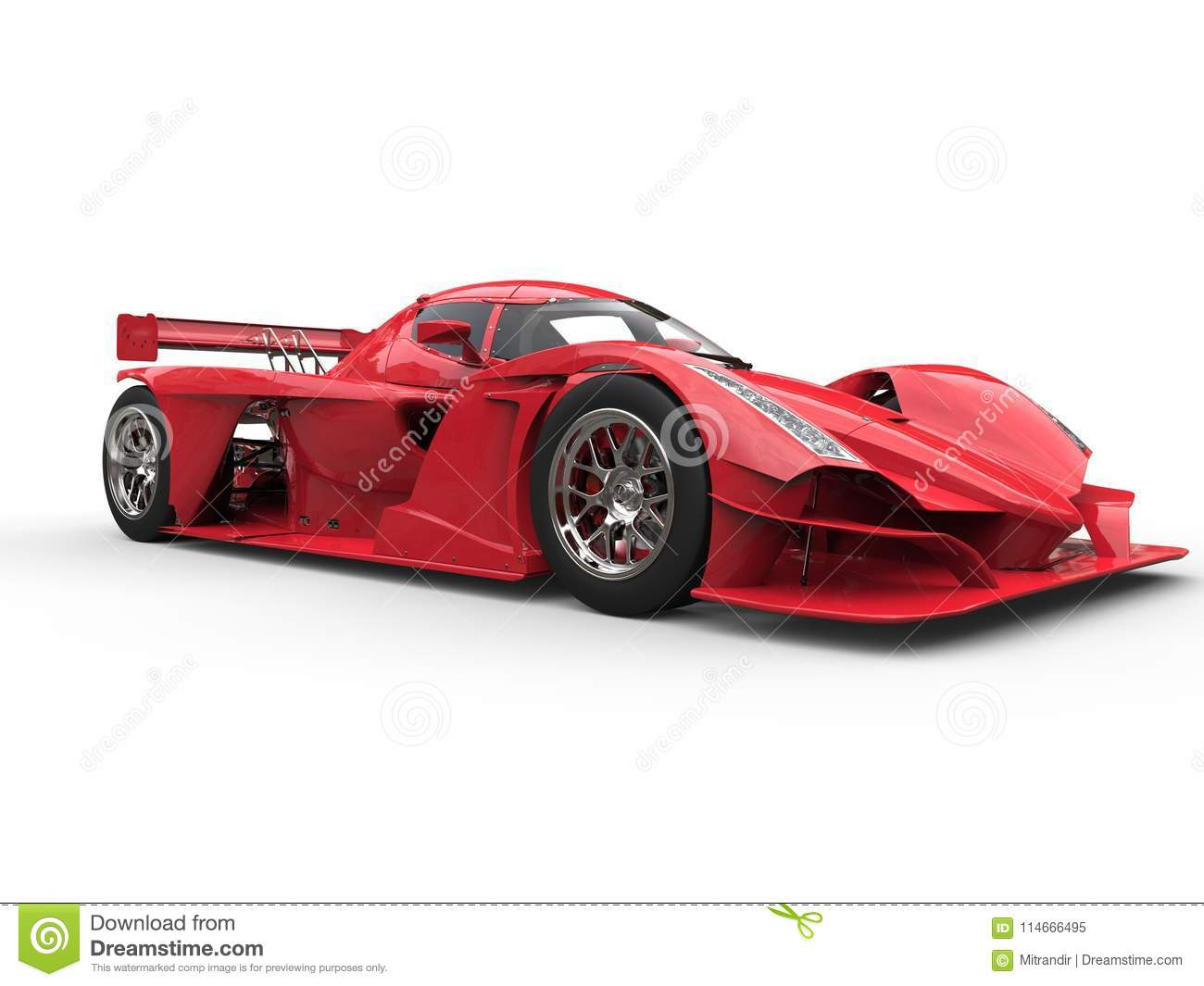 Angry red super race car - beauty shot