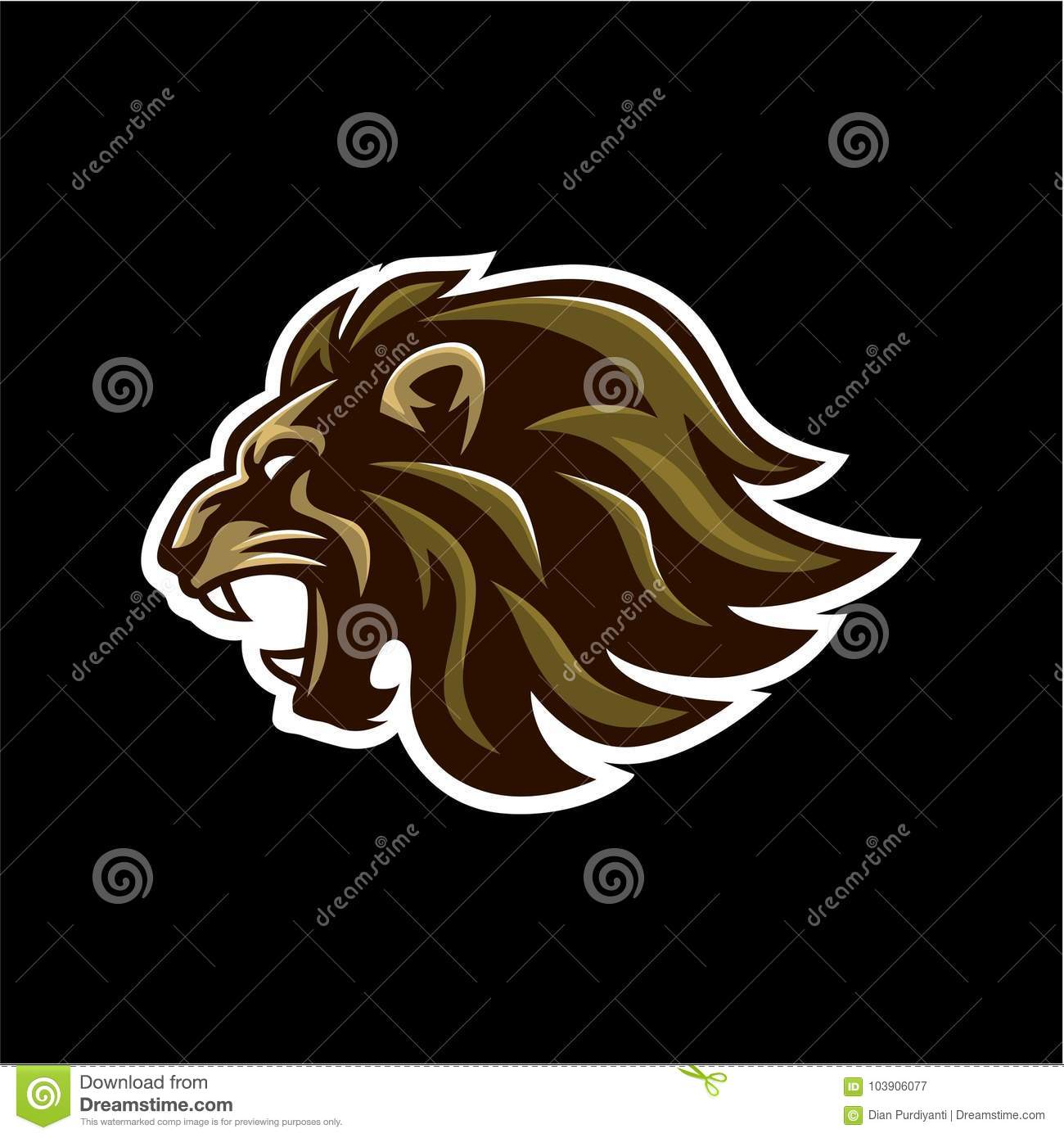 Angry Roaring Lion Head Black Background Vector Logo Design