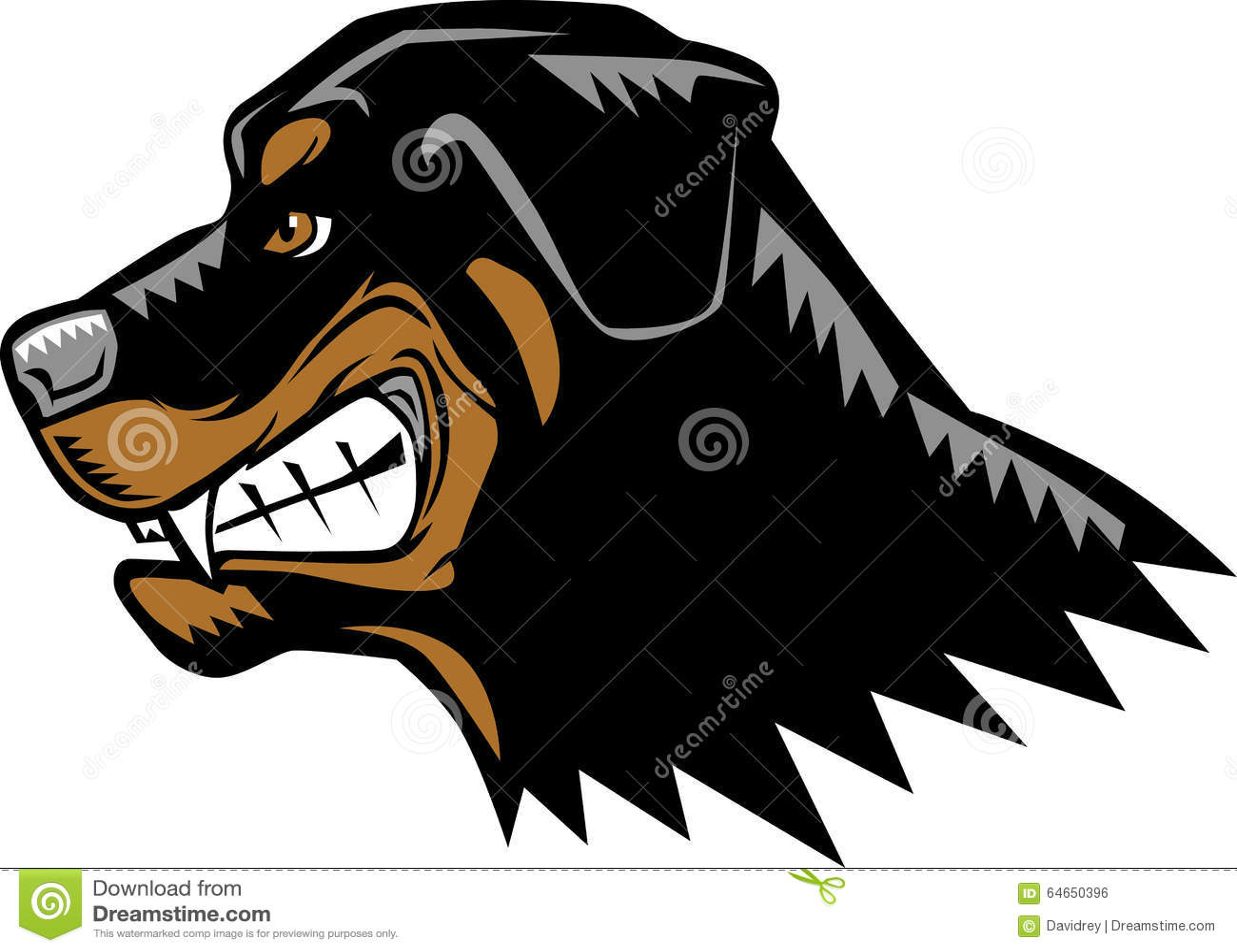 rottweiler dog mean. royalty-free vector rottweiler dog mean