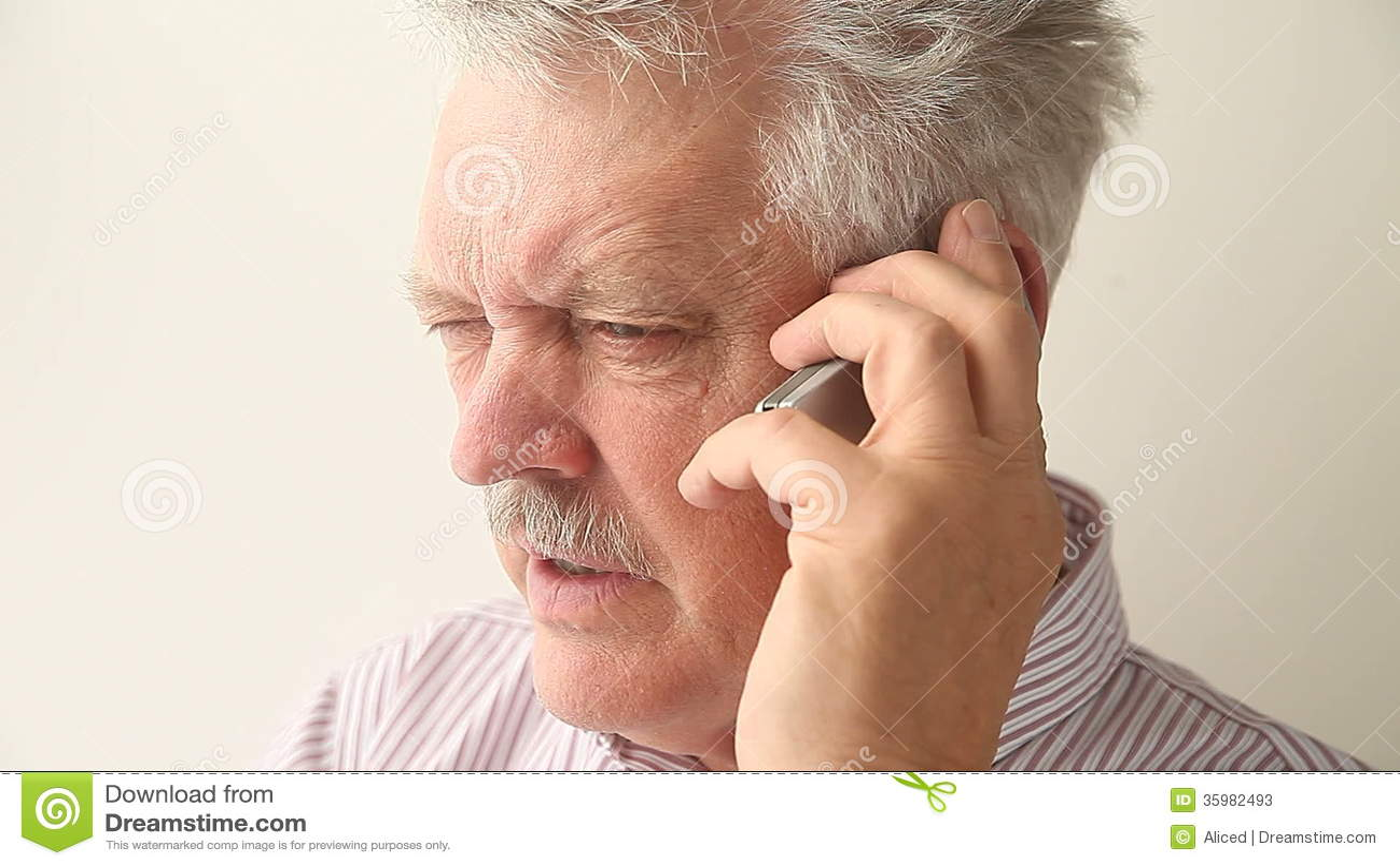 Angry Senior Man On Mobile Phone Stock Video Video Of Horizontal