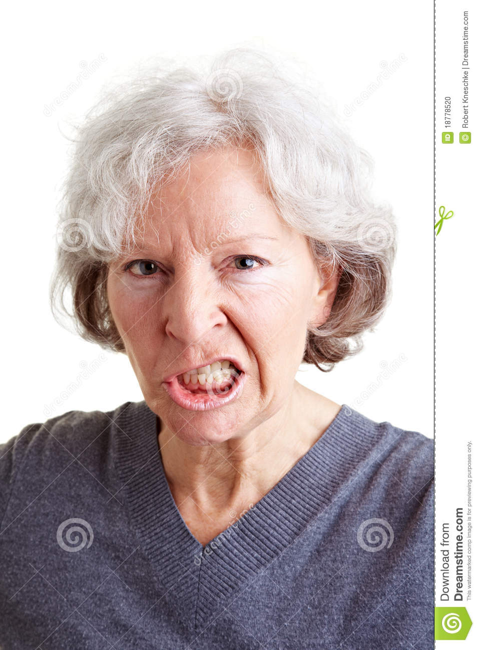 Angry senior woman showing her