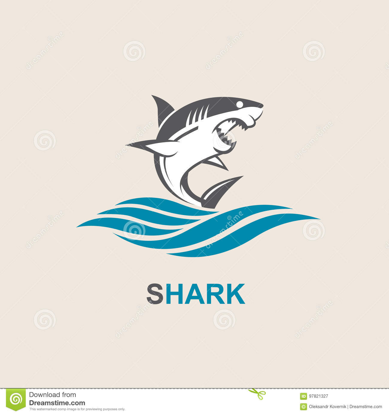 Angry Shark Icon Stock Vector Illustration Of Symbol 97821327