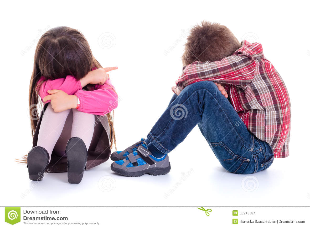 Angry Sulking Children Pointing At Each Other Stock Image