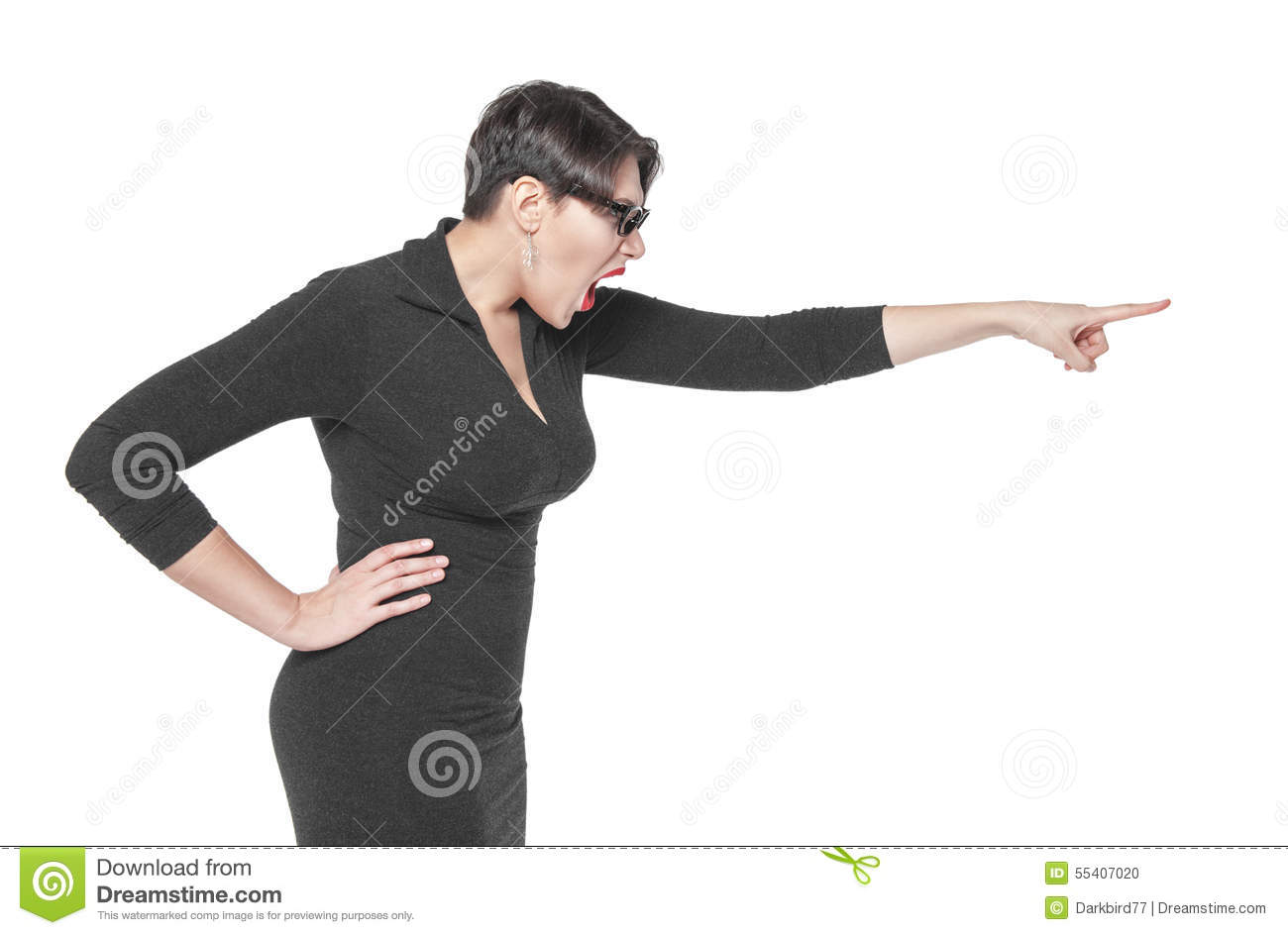 Angry Teacher Woman Pointing Out Isolated Stock Photo ...