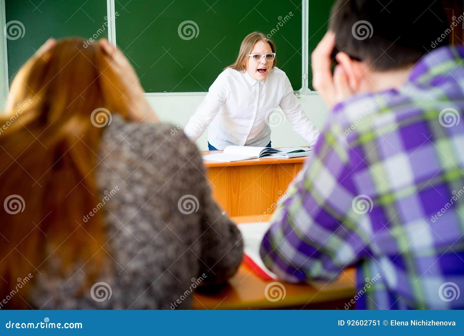 Angry teacher yelling