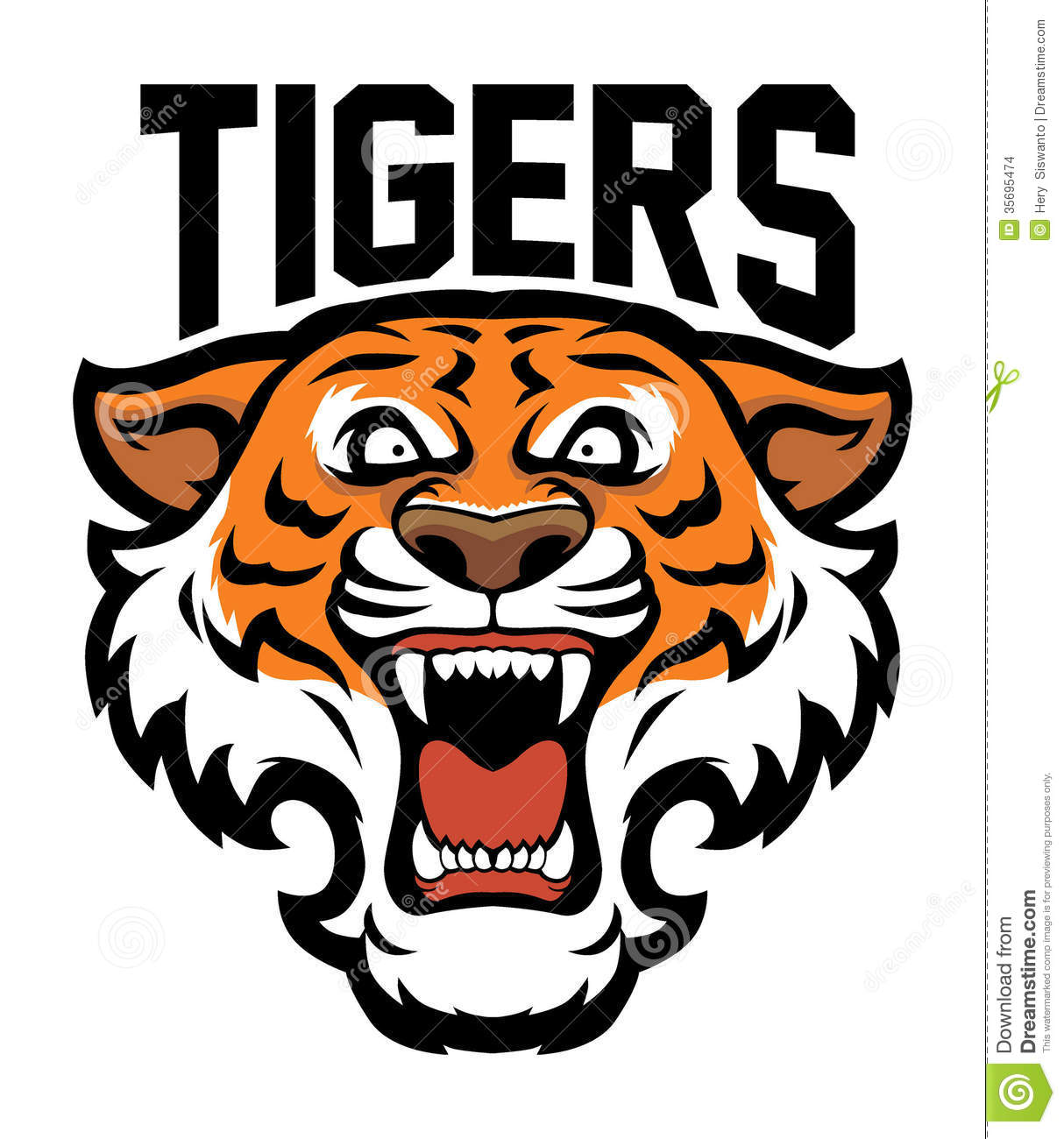Angry tiger head stock vector. Illustration of icon, fang ...