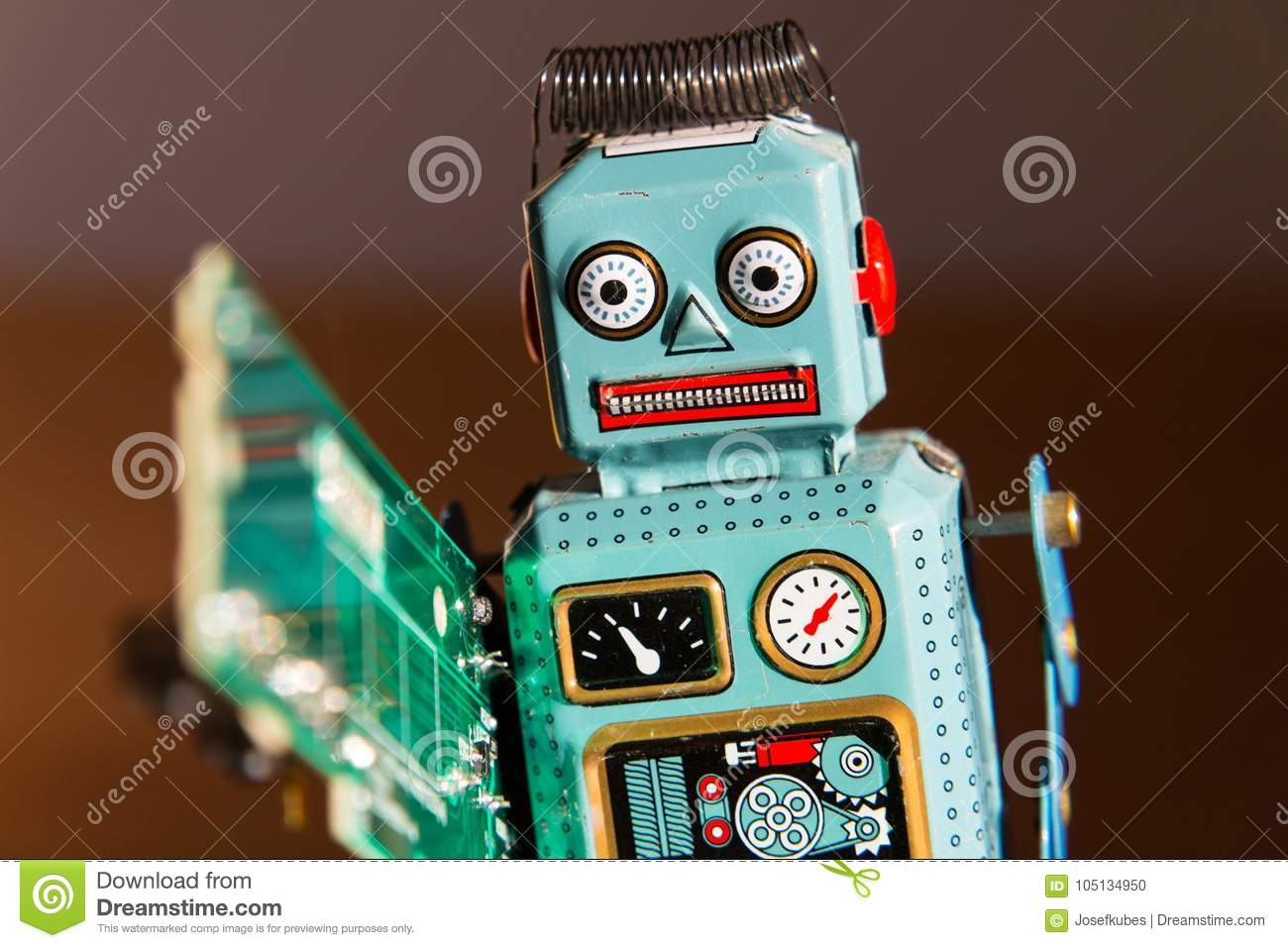 Tin Toy Robot Carries Computer Circuit Board Artificial Angry Vintage Green Intelligence Concept