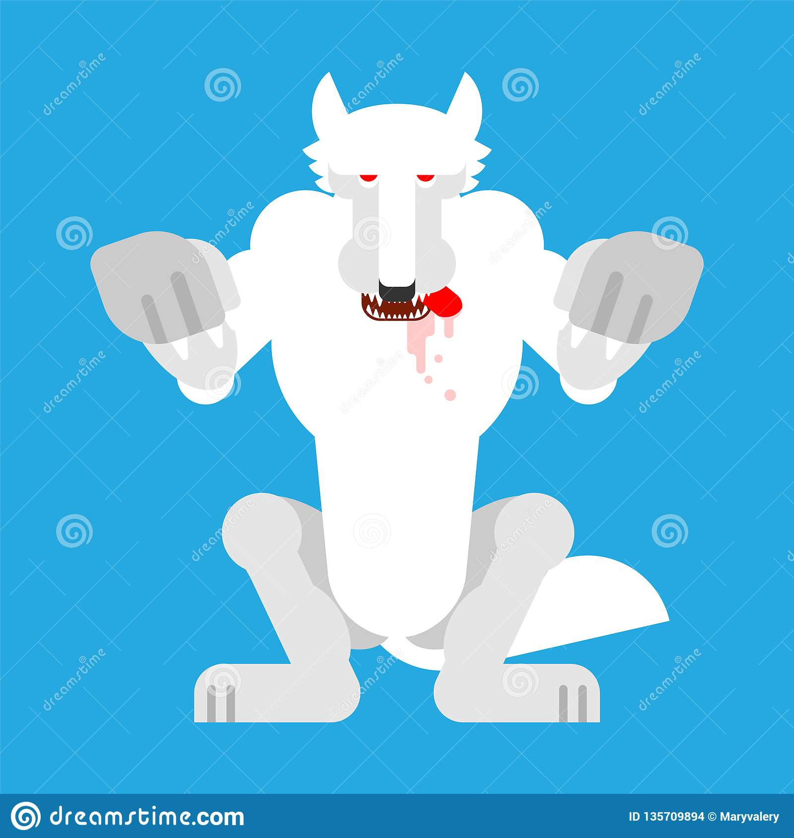 Angry White Wolf Attack Isolated Snow Werewolf Predator Beast