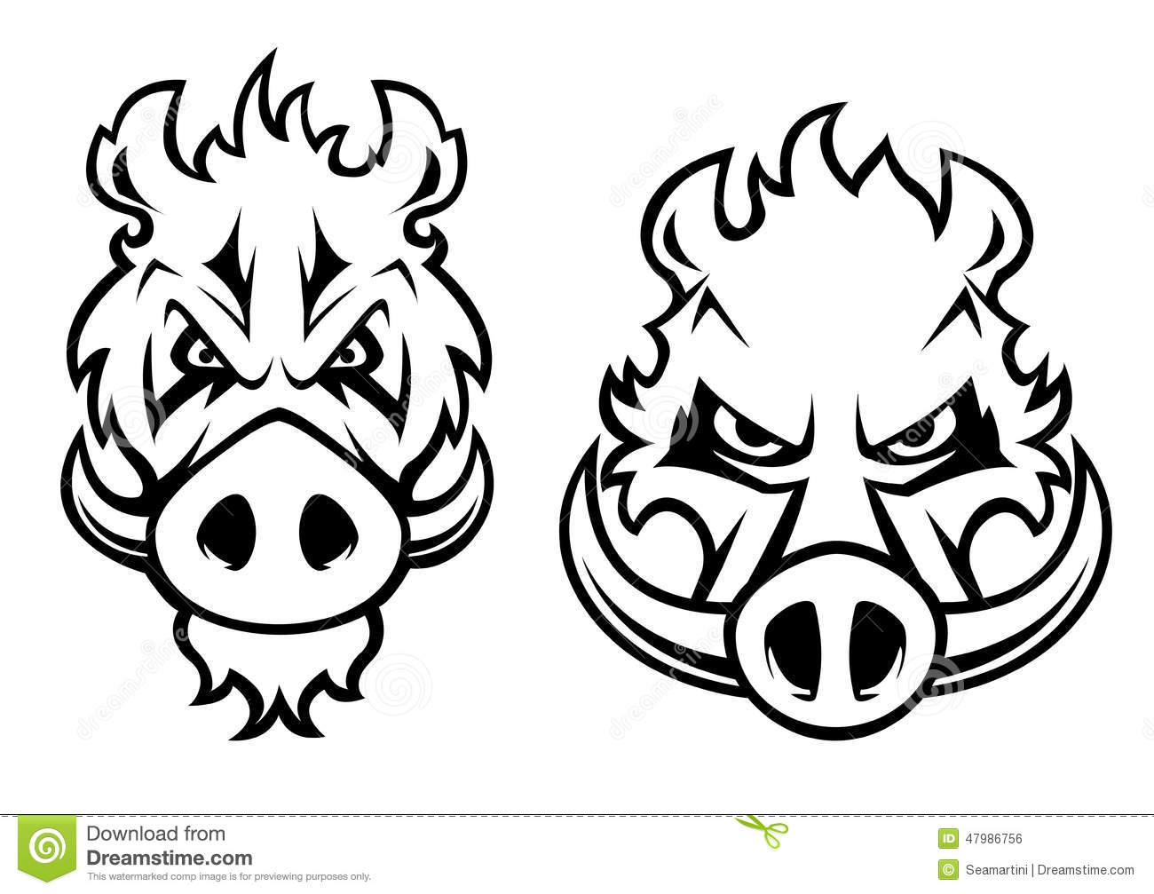 Angry Wild Boar Heads Character Stock Vector Image 47986756