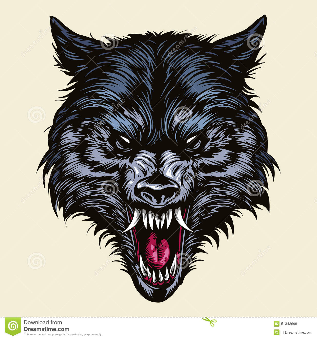 Angry Wolf Head Mascot Stock Illustration Image 51343690
