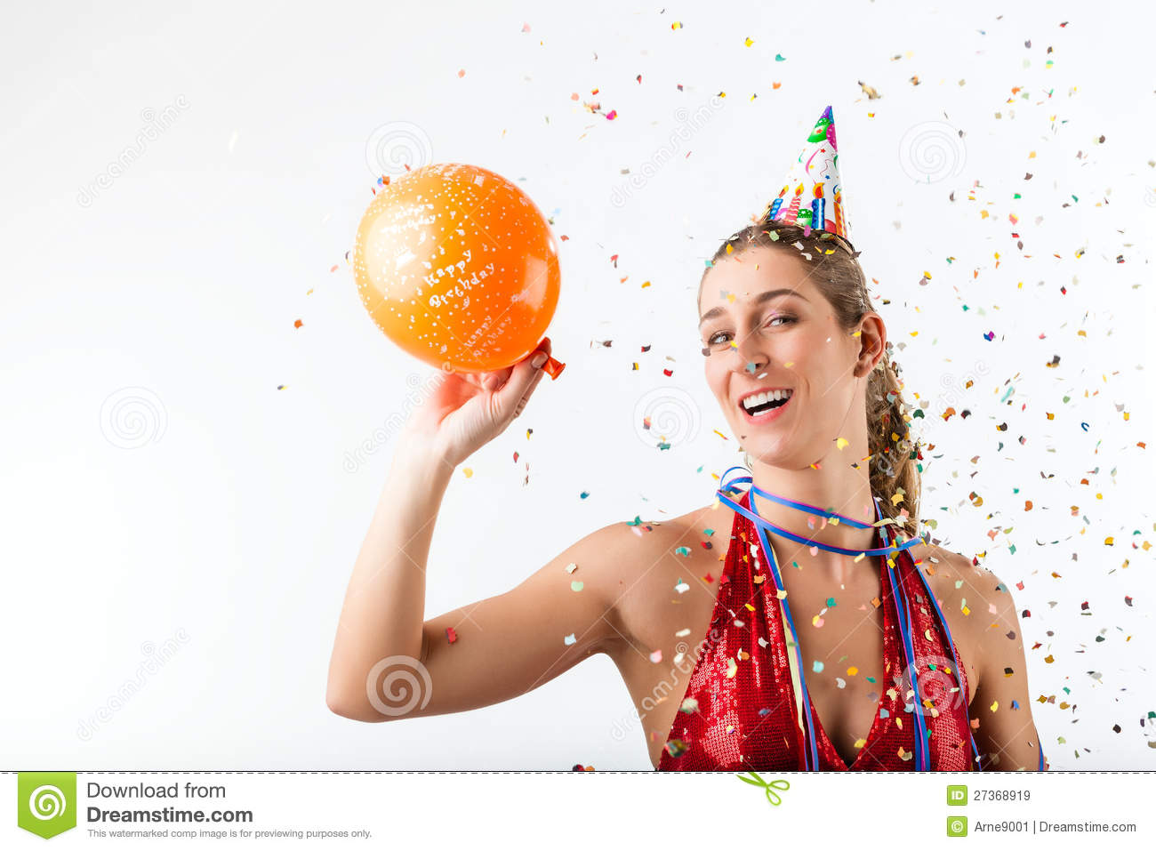 Angry Woman Celebrating Birthday With Balloon Stock Image