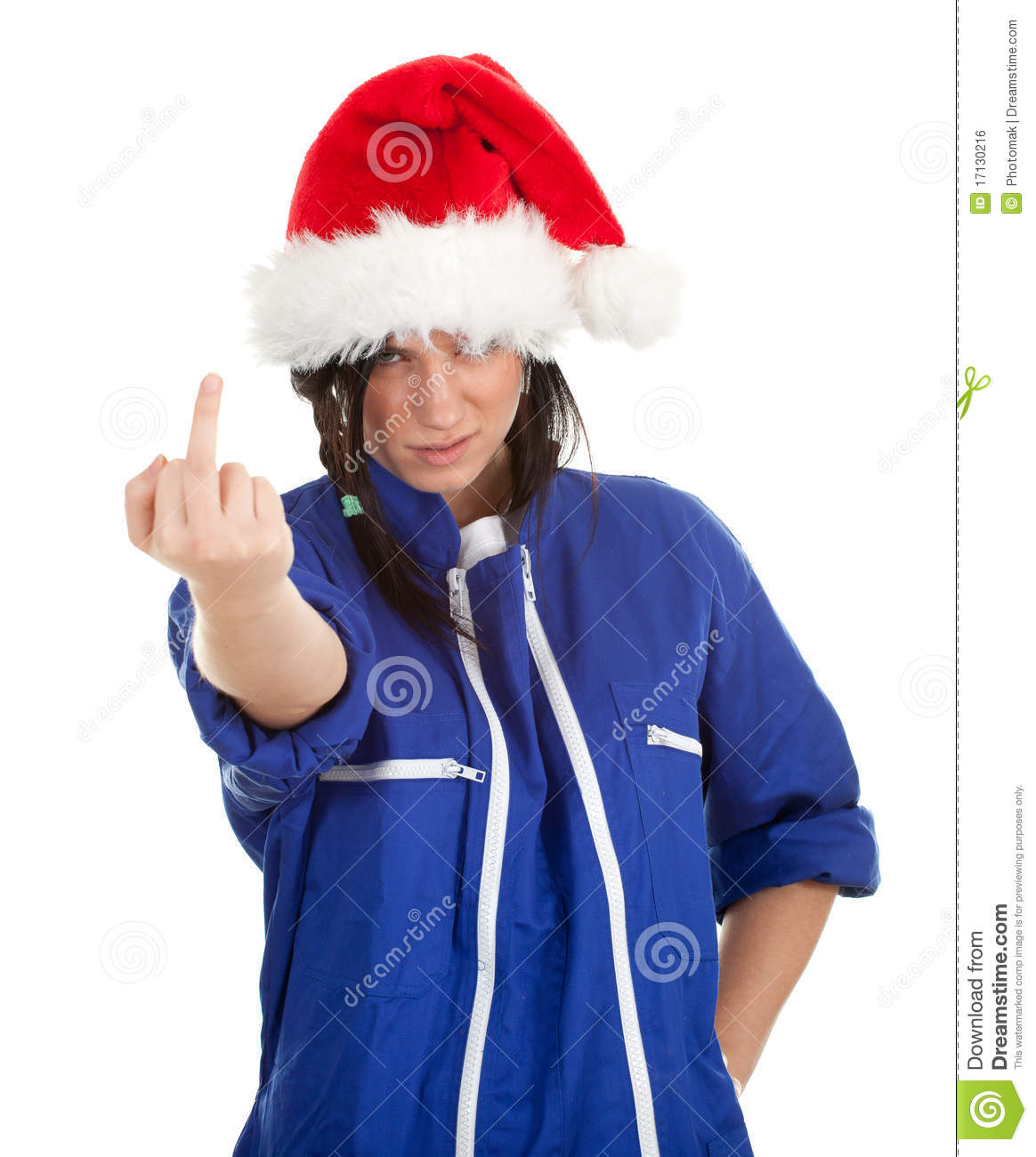 Angry woman in coveralls and santa hat royalty free stock image