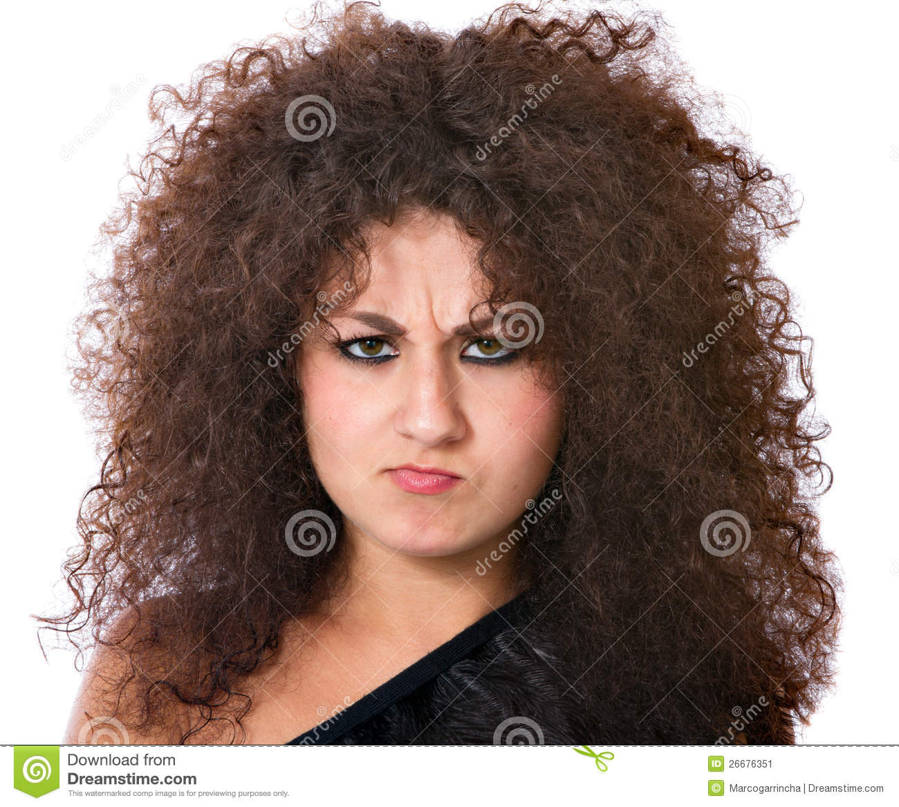 Angry Woman With Crazy Curly Hair Stock Image Image Of