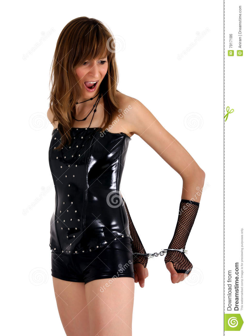 Angry woman with handcuff