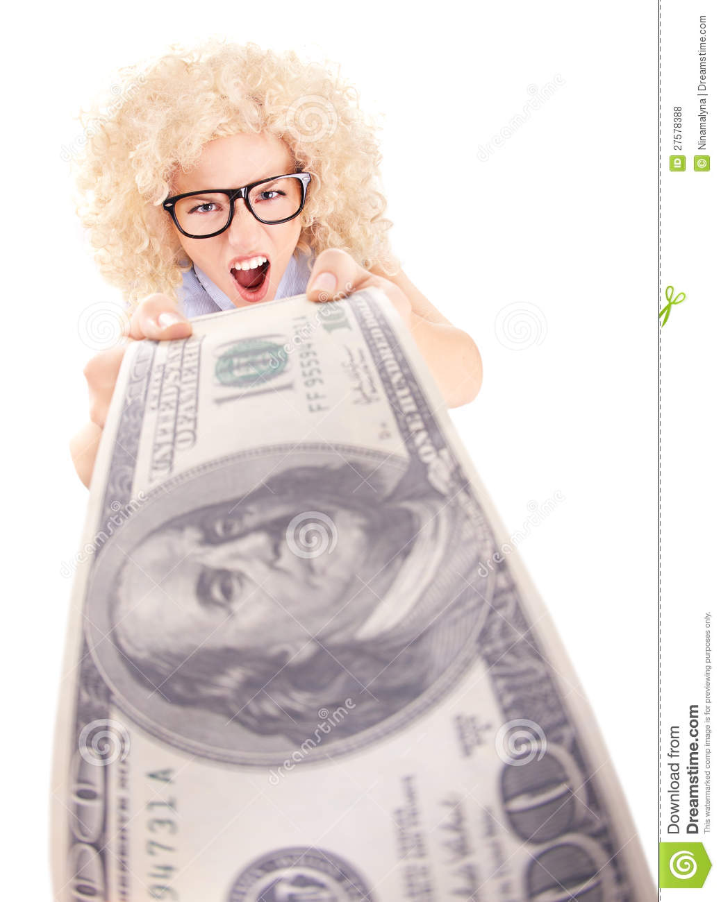 Angry woman holding hundred dollar bill