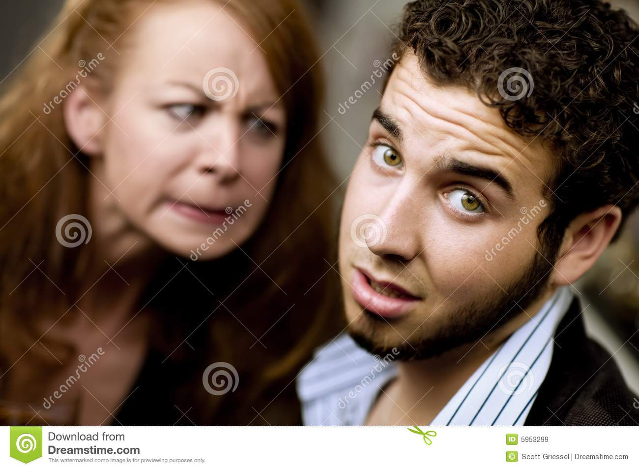 Angry Woman Looks At A Man Royalty Free Stock Images ...
