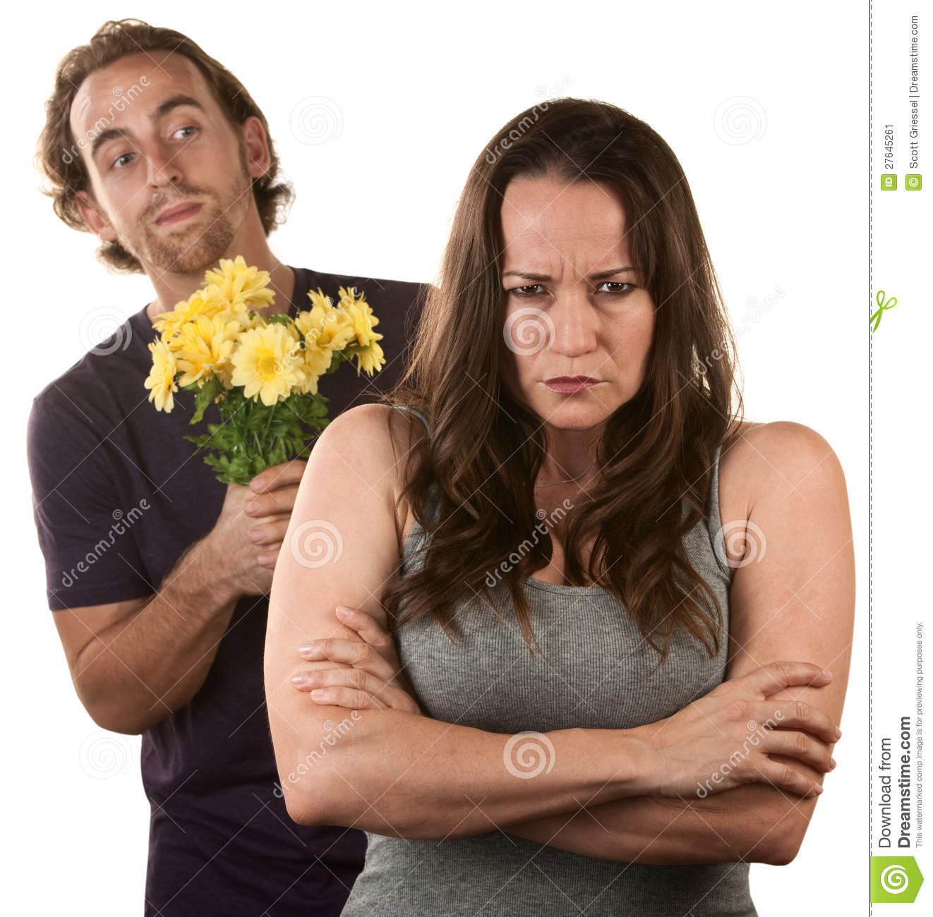 Angry Woman And Man With Flowers Stock Image - Image: 27645261