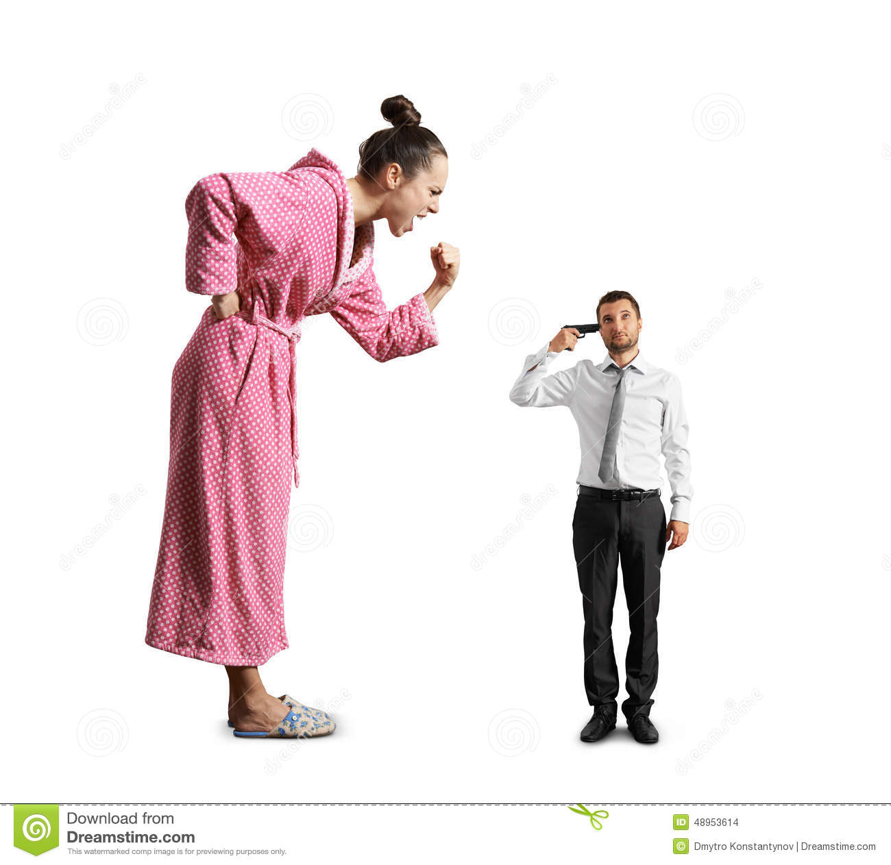 Angry Woman Screaming At Small Tired Man Stock Photo ...