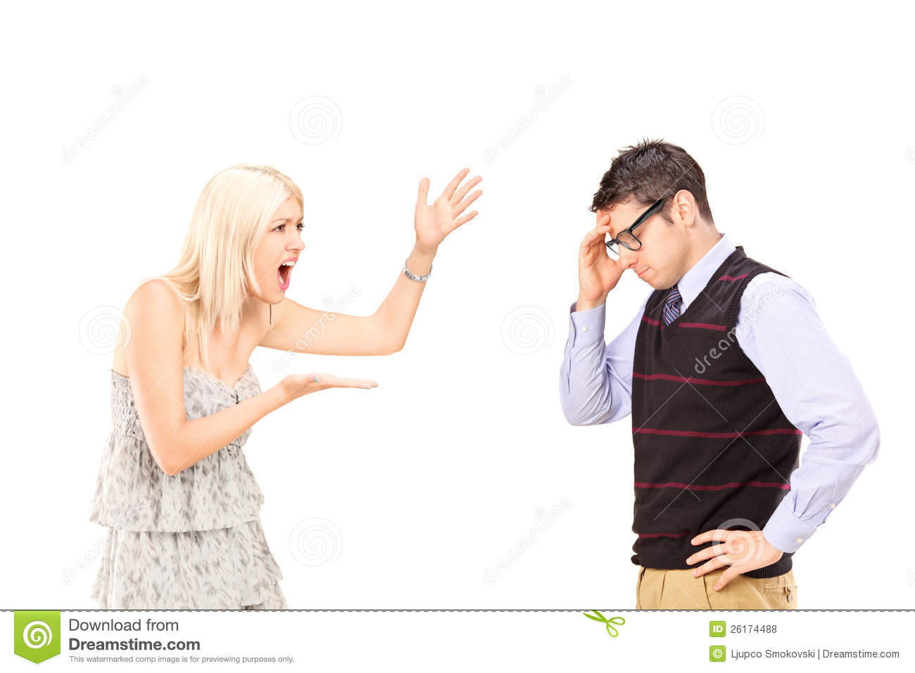 Angry Woman Shouting At A Man Royalty Free Stock Photos ...